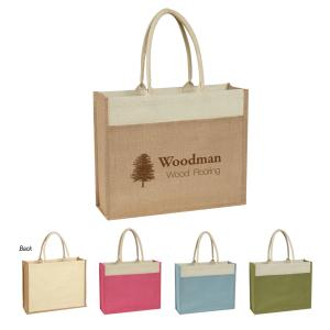 Jute Tote Bag with Cotton Handles and Front Pocket