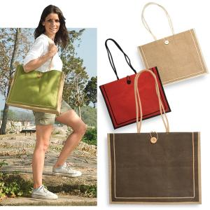 Jute Tote Bag with Cotton Handles and Button Front Closure