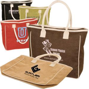 Zippered Jute and Cotton Tote
