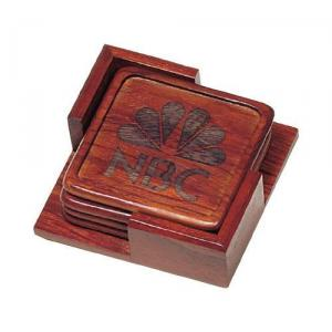 Square Set of 4 Rosewood Coasters with Holder