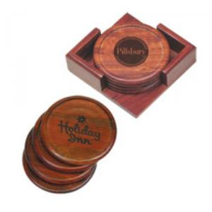 Round Set of 4 Rosewood Coasters with Holder