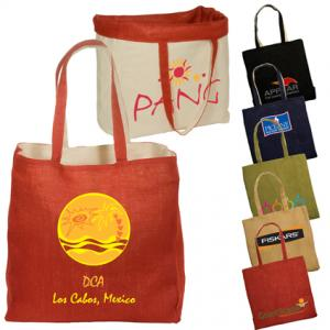 Reversible Jute Shopping Tote with Cotton Lining