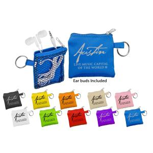 Sporty White Travel Earbuds in Mesh Pouch with Key Ring