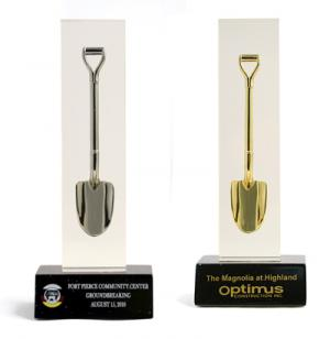 Ceremonial Shovel in Clear Block Paperweight/Award