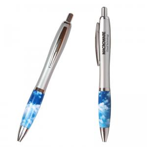 Silver Click Pen with Cloud Theme
