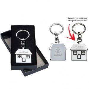 Polished Chrome Metal House Key Tag with Gift Box
