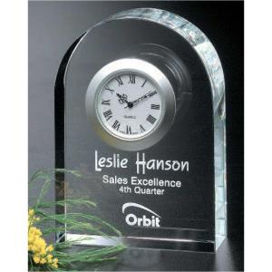 Arch Shaped Crystal Clock Award