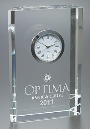 Crystal Clear Award with Embedded Clock