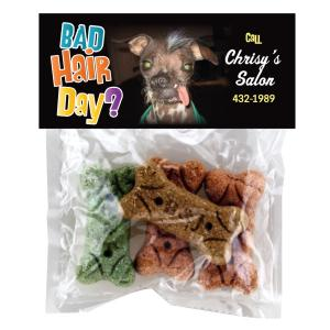 Dog Bone Treats in Clear Header Bag