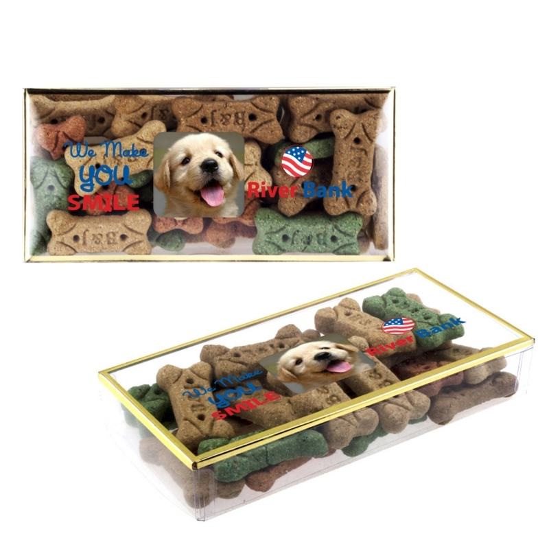 Dog Bone Treats in Golden Rim Box