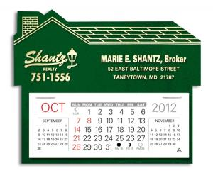 House Shaped 13 Month Calendar with Adhesive Back