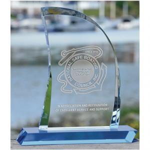 Crystal Sail Shaped Award