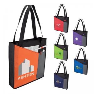 Tri Tone Tote Bag with Front Pocket