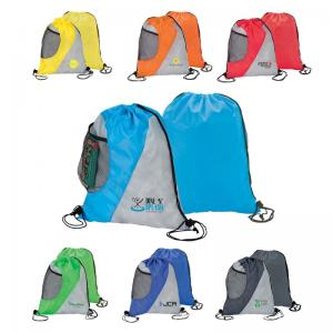 Colorblock Drawstring Bag with Mesh Pocket