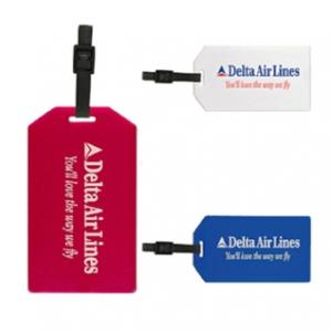 Econo White Luggage Tag with Adjustable Strap
