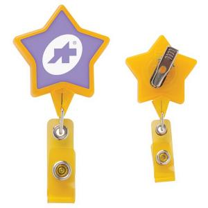 Large Star Shaped Badge Reel with Alligator Clip