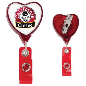 Large Heart Shaped Badge Reel with Alligator Clip