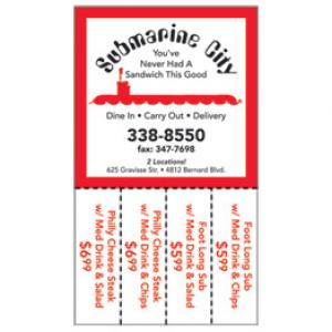 "Magnet with Detachable 3"" x 1"" Coupons"