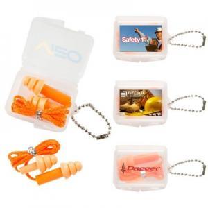 Bright Orange Ear Plugs w/ Square Keychain Case