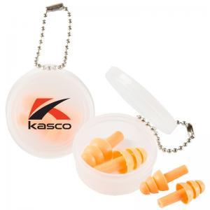 Bright Orange Ear Plugs w/ Round Keychain Case