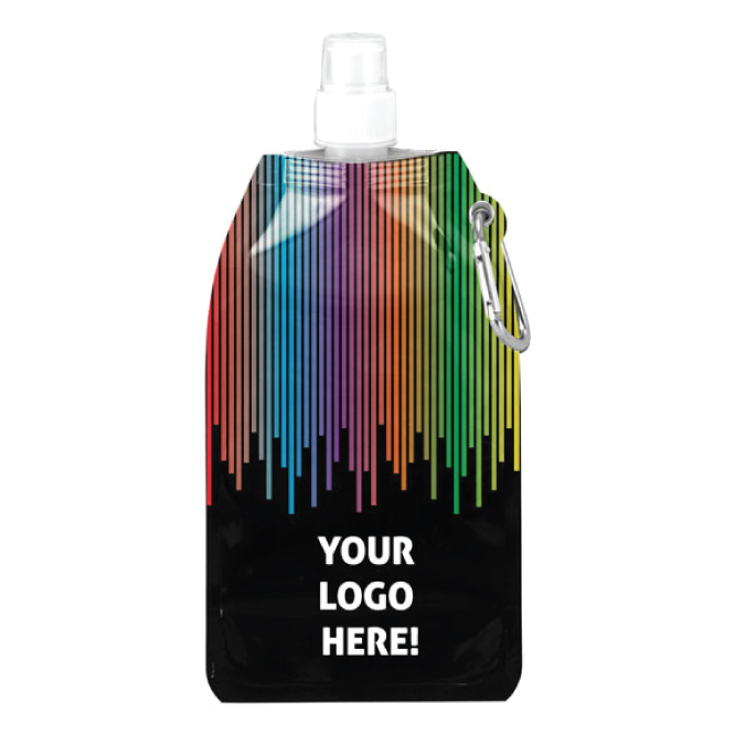 Rainbow Themed 16.9 Oz. Collapsible Water Bottle with Carabiner