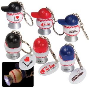 Light Up Baseball & Baseball Hat Key Tag