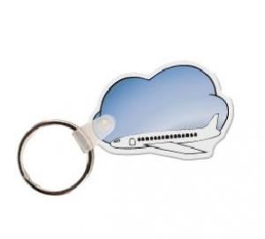 Airplane with Clouds Soft Vinyl Key Tag