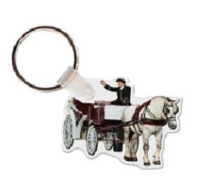 Horse and Carriage Vinyl Keychain
