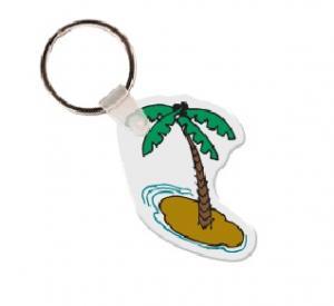 Palm Tree with Island Soft Vinyl Keychain