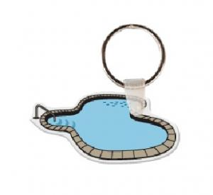 custom printed swimming pool soft vinyl keychain