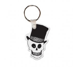 Skull with Top Hat Soft Vinyl Key Tag