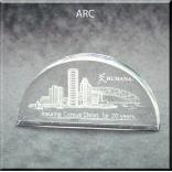 Arc Shaped Acrylic Award/Paperweight