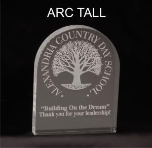 Tall Arc Shaped Acrylic Award/Paperweight