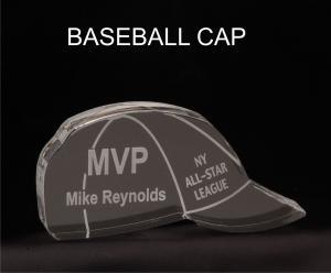 Baseball Hat Shaped Acrylic Award/Paperweight