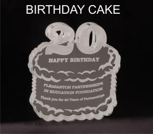 Birthday Cake Shaped Acrylic Award/Paperweight