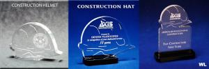 Construction Hat Shaped Acrylic Awards/Paperweights
