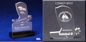 Cowboy Boot Shaped Acrylic Award/Paperweight