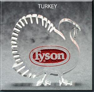 Turkey Shaped Acrylic Fall Award/Paperweight