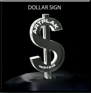 Dollar Sign Shaped Acrylic Award/Paperweight