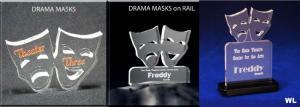 Drama Masks Shaped Acrylic Award/Paperweight