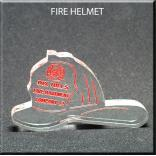 Fire Helmet Shaped Acrylic Award/Paperweight