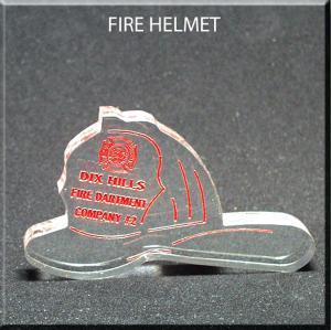 Fire Helmet Shaped Acrylic Award/Paperweight