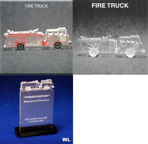 Fire Truck Shaped Acrylic Award/Paperweight