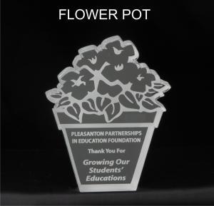 Flower Pot Shaped Acrylic Award/Paperweight