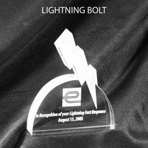 Lightning Bolt Shaped Acrylic Award/Paperweight