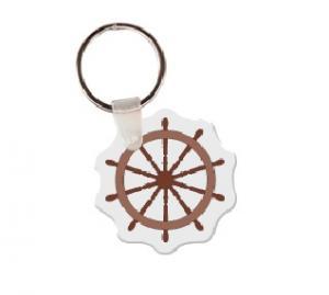 Ship Wheel Soft Vinyl Key Tag