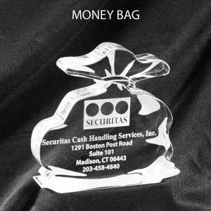 Money Bag Shaped Acrylic Award/Paperweight