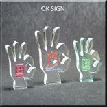 OK Sign Shaped Acrylic Award/Paperweight