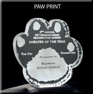 Paw Print Shaped Acrylic Award/Paperweight