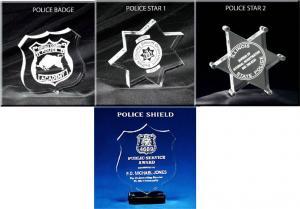 Police Badge/Star/Shield Shaped Acrylic Award/Paperweight